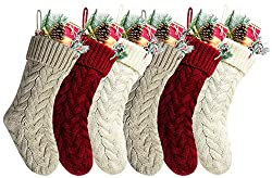 Pack 6,18 Unique Burgundy and Ivory White and Khaki Knit Christmas Stockings Style3, Christmas home design ideas, farmhouse Christmas decor 2020, farmhouse Christmas decor for sale