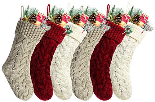 Pack 6,18' Unique Burgundy and Ivory White and Khaki Knit Christmas Stockings Style3