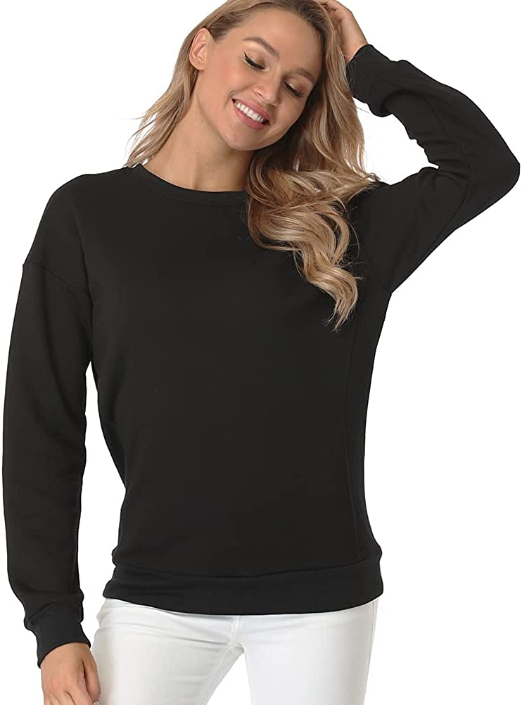 Fuinloth Women's Sweatshirts, Crewneck Long Sleeve Midweight Soft Cotton Tops