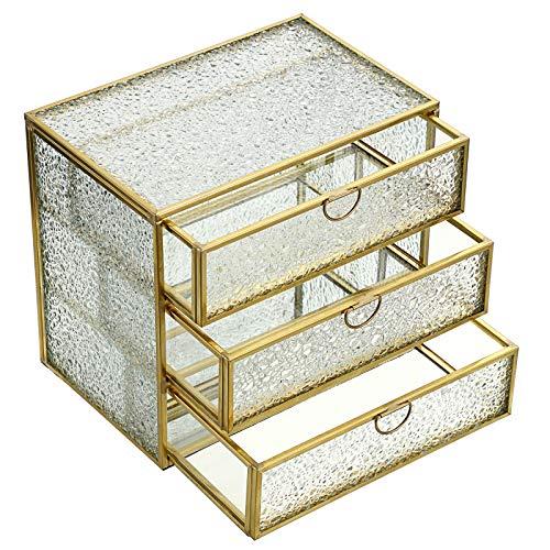 BSTKEY Cajón de almacenamiento de escritorio de cristal con patrón de diamante dorado, caja de almacenamiento de 3 niveles, organizador grande