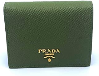 26bfdaae8429 Prada Portafoglio Vertical Green Saffiano Leather Flap Wallet 1MV204