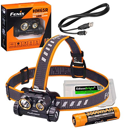 Fenix HM65R 1400 lumen dual beam LED Headlamp, high capacity battery with EdisonBright battery carry case bundle