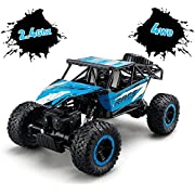 TOYEN Remote Control, RC Rock Off-Road Vehicle 2.4Ghz 4WD Fast Speed Racing Cars, Blue