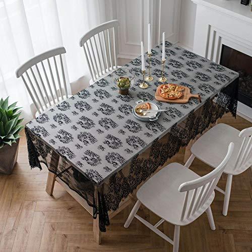 shunzianson Romantische kant decoratief tafelkleed rechthoekig tafelkleed eettafel afdekking schoorsteenplaat stofbescherming 145x260cm zwart
