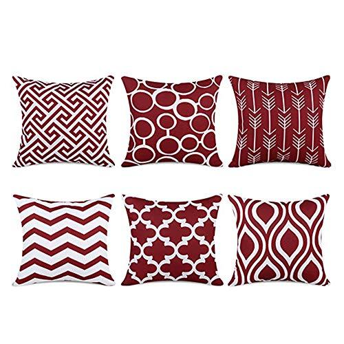 Juego de 6 fundas de cojín de poliéster y algodón de lino, suave y lavable para sofá, dormitorio, casa, salón, decoración, 45 x 45 cm (rojo geométrico)