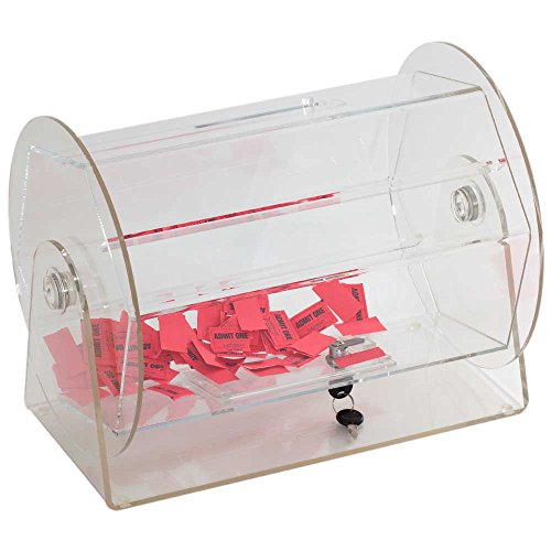 Acrylic Raffle Ticket Drum - Available in Small, Medium, Large Size (Medium - Holds 5,000 Tickets)