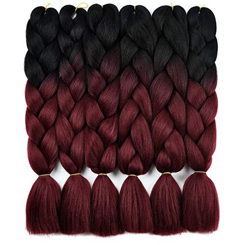 Ombre Braiding Hair Kanekalon Braiding Hair Synthetic Hair Extensions for Braiding Crochet Twist Box Braids 24 Inch 2 Tone Black to Wine Red 6 Packs Jumbo Braiding Hair
