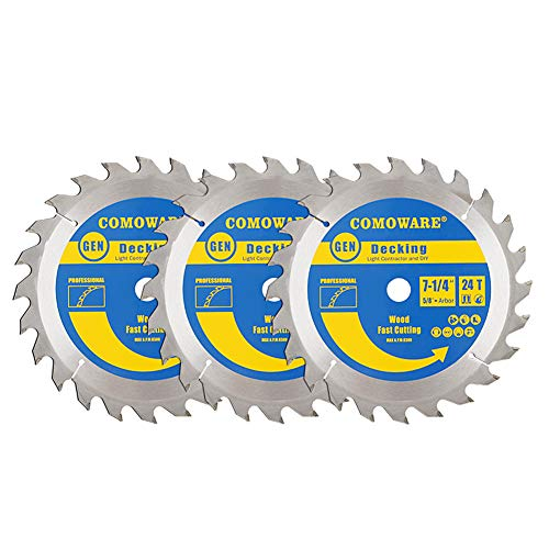 COMOWARE Circular Saw Blade Set- Miter Saw blade 7-1/4 Inch 24T ATB Premium Tip, 5/8inch Arbor Decking Light Contractor and DIY, 3 Pack