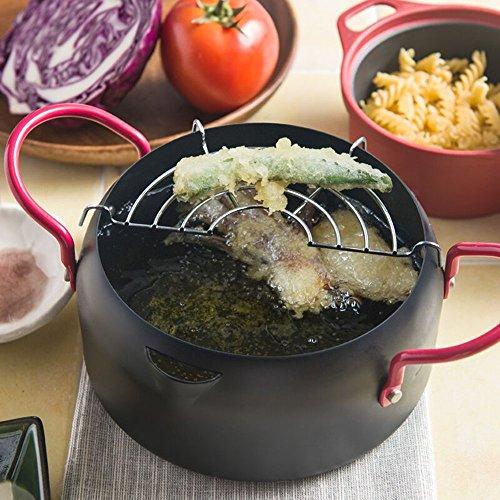 MyLifeUNIT Tempura Fryer Pot, Mini Deep Fry Pan with Drainer, 6 Inch (16 cm)