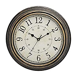 LONBUYS 12 Inch Vintage Retro Wall Clock, Silent Non-Ticking Quartz Decorative Wall Clocks with Large Numbers Easy to Read for Kitchen,Living Room,Bathroom,Bedroom,Office,School(Gold Bronze)