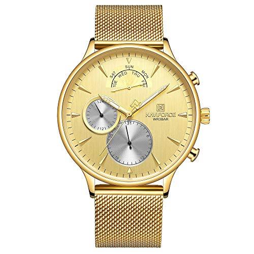 Relojes para Hombre Relojes de Cuarzo analógicos con Fecha Impermeable de Acero Inoxidable-A