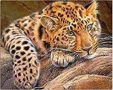 Pintura de diamante patrón de leopardo bordado mosaico kit de...