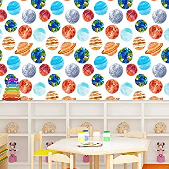 Cartoons Wallpaper Paper for Wall Vinyl Wallpaper Peel & Stick Wallpaper Universe Starry Sky Planet Combination Removable Self-Adhesive Wallpaper for Children Room