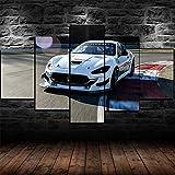 45Tdfc Impresión de Lienzo de Pared Arte Imagen White Masera GranTurismo MC GT4 Car 5 Piezas Pinturas Moderna Estirada Enmarcado Arte el para decoración del hogar