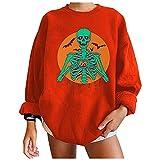 SZITOP Halloween Women's Tops Fashion Cute Print Casual Crewneck Long Sleeve Drop Shoulder Shirt Sweater Sweatshirt Pullover(D-Orange,Medium)