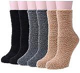 YSense 6 Pairs Women Fuzzy Fluffy Cozy Slipper Socks Warm Soft Winter Plush Home Sleeping Socks