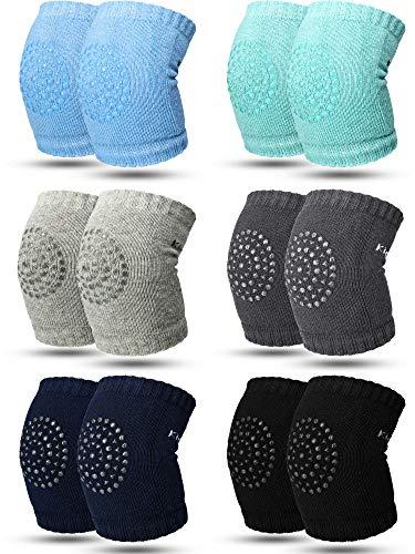 SATINIOR 6 Paar Kriechende Knieschützer Anti-Rutsch Baby Knieschützer für Kleinkinder Beinlinge (schwarz, grün, grau, dunkelgrau, blau und dunkelblau)