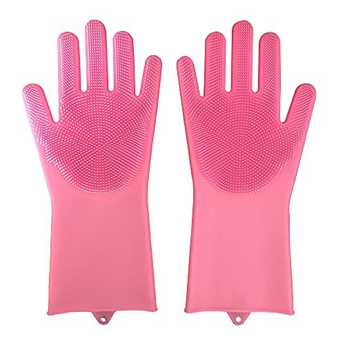 feiren Guantes de silicona de látex para lavar platos, detergente, esponja de goma, limpieza de cocina, color rosa