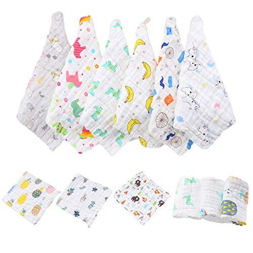 Joocyee - Toalla de algodón de Muselina para bebé de 12 Piezas, Animales de Dibujos Animados, 6 Capas, Toalla Facial para recién Nacidos, Bufanda Cuadrada de Seis Capas de Gasa, Entrega aleatoria
