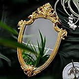 Espejo de pared decorativo Lemonadeus clásico colgante espejo y escudo de oro antiguo retro, bandeja organizadora de joyas, 8.5 pulgadas x 13 pulgadas