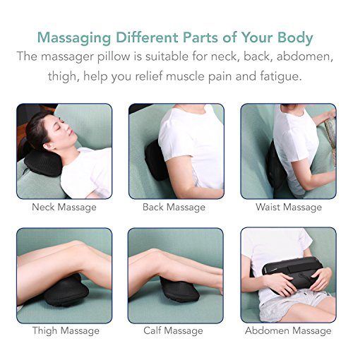 MaxKare Back Massager Neck Massager Massage Pillow with Heat, Shiatsu and Deep Tissue Kneading Massager for Cervical, Shoulder, Waist, Muscle Pain Relief, Relaxation in Car Home and Office