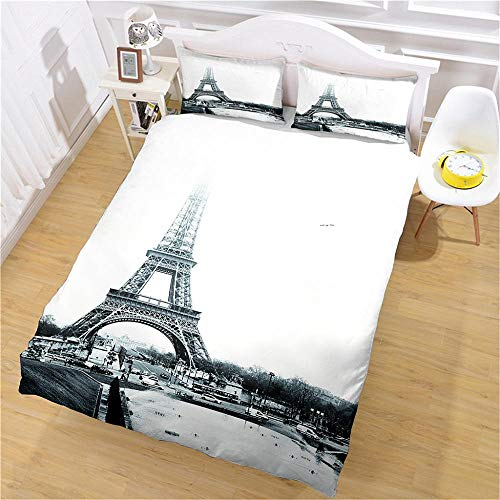 PERFECTPOT Super King Duvet Cover Set Eiffel Tower Forest Printing Bedding Sets in Polyester with Zipper Closure, 1 Quilt Cover 260x220 with 2 Pillowcases for Children Boys Girls Adults