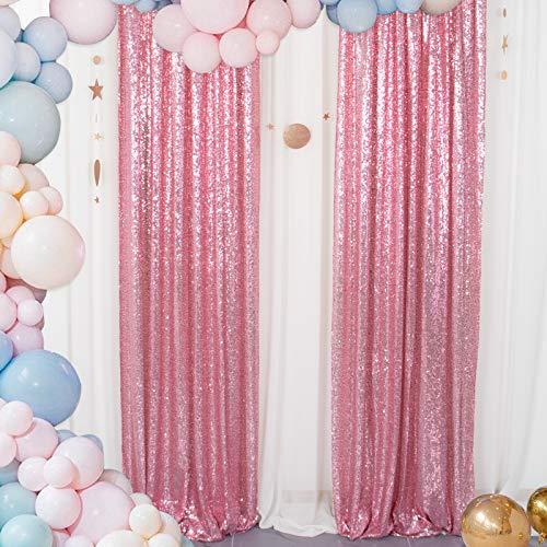 Pailletten Hintergrund Vorhang 60 cm x 2,4 m Höhe Mintgrün Glitter Hintergrund Hochzeitsdekor Fotografie Hintergrund Duschvorhang Wohnkultur Kleiner Paillettenvorhang Babyparty (2FTx8FT, Rosa Gold)