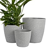 Worth Garden Plastic 14 Inch 11'' 9'' Round Planter Grey Large Resin Flower Pot Set of 3 Outdoor Indoor with Drainage Hole Luxury Container for Plants Patio Deck Light Unbreakable Small - G740A00