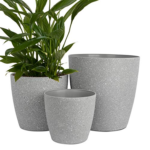 Worth Garden Plastic 14 Inch 11'' 9'' Round Planters Set of 3 Grey Large Resin...