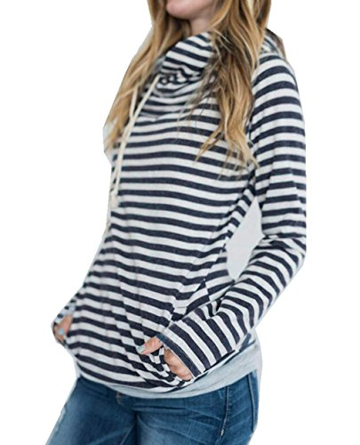 Asskdan Damen Gestreift Pulli Sweatshirts Hoodie Sport Langarm Reißverschluss Pullover Outerwear (EU 46/3XL, Dunkelblau)
