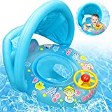Baby Schwimmring,Blau Baby schwimmring aufblasbarer,Baby Schwimmhilfe,Aufblasbarer schwimmreifen Kleinkind,Float Kinder Schwimmring,Kinder Schwimmreifen Spielzeug,Baby Pool Schwimmring mit Sonnenschut