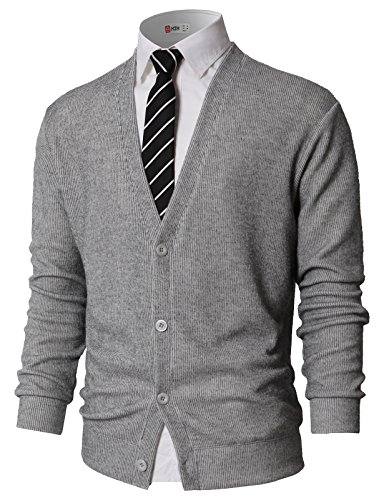 H2H Mens Cardigan Sweater Button Front Assorted Color Knitwear Gray US S/Asia M (KMOCAL0179)