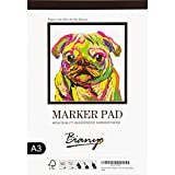 "Bianyo XL Bleedproof Marker Paper Pad, A3(11.69""X16.54""), 50 Sheets, 18 LB / 70 GSM, Glue-Bound, 100% Cotton, White, Ideal for Use with Markers and Ink Mediums"