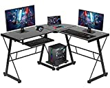 L Shaped Computer Desk,Gaming Desk Home Office Corner Desk Toughened Glass...