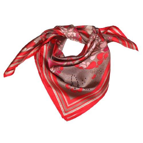 LORENZO CANA Foulard pour la femme – écharpe de 100% soie pour le printemps et l´été, carré avec les mesures de 70 x 70 cm – une sensation de luxe en rouge ecru beige sable marron rose
