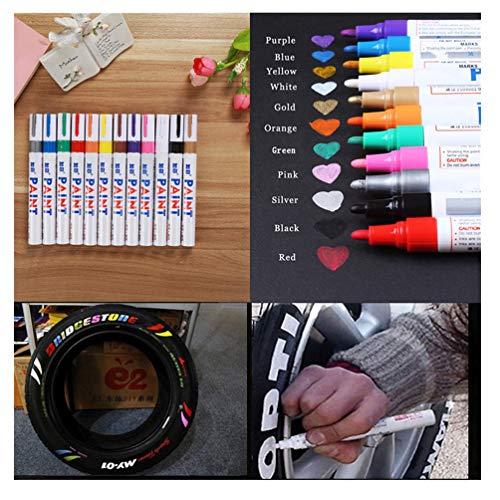 6 Stück Reifen Stift Reifenmarker Auto, Motorrad Treten Fahrradreifen Reifenmarkierungsstift Reifenstift Marker Pen Stift Beschriftung Wasserfest Neu (Set 1)