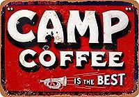 キャンプコーヒー メタルポスタレトロなポスタ安全標識壁パネル ティンサイン注意看板壁掛けプレート警告サイン絵図ショップ食料品ショッピングモールパーキングバークラブカフェレストラントイレ公共の場ギフト
