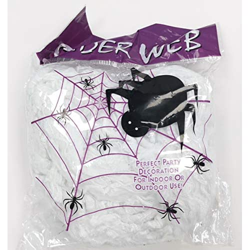 N / A 100g Spider Web + 30 Ragni Festa della Decorazione di Halloween Festival Decorazione Giardino Bar casa Fantasma (100g Spider Web, 30 Ragni)