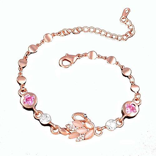 Rose Bijoux en or en forme de coeur améthyste Bracelet main Bijoux Fashion