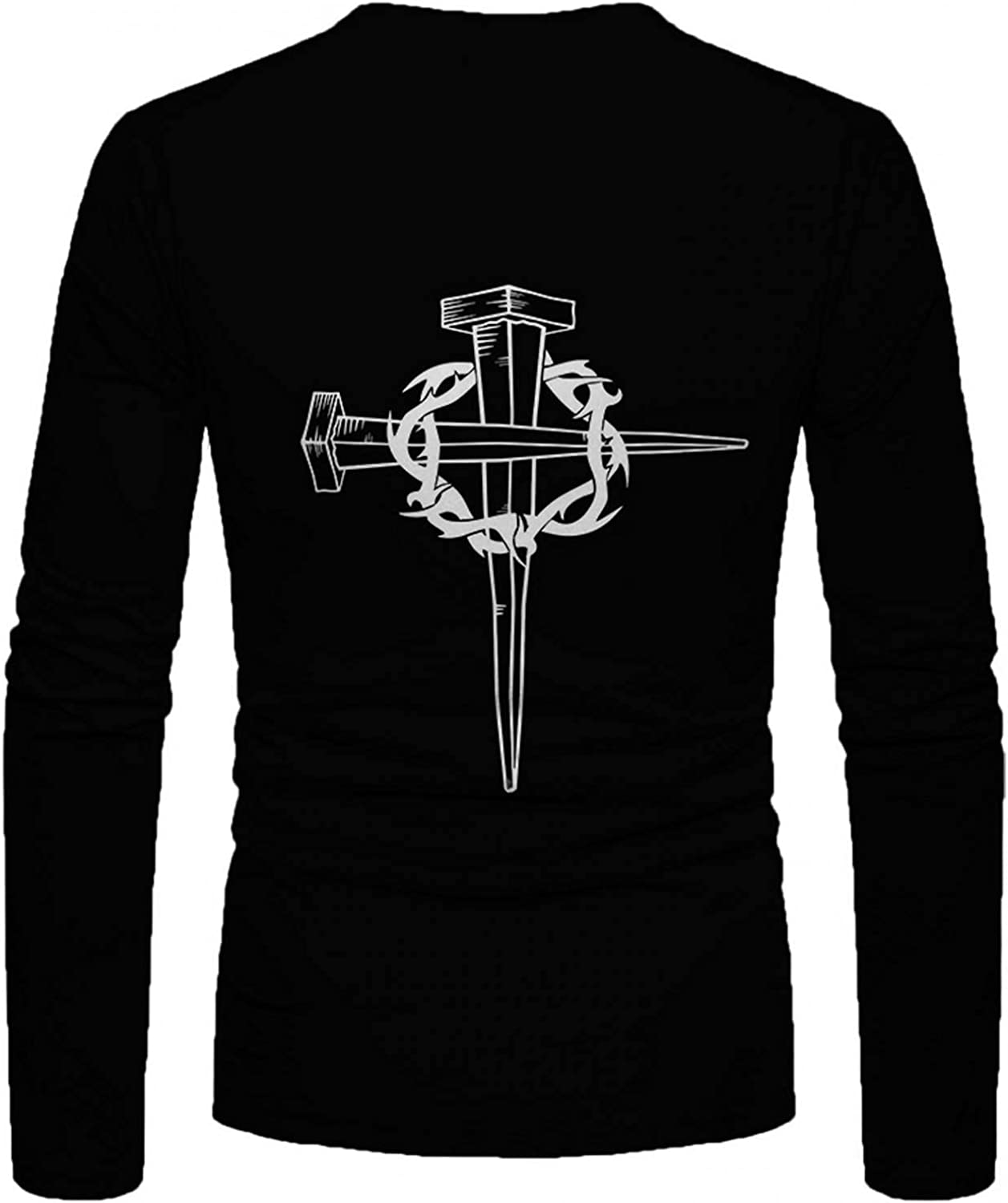 Tops for Mens Casual Stylish Faith Jesus Cross Print Graphic T Shirts Long Sleeve Crewneck Pullover Tops