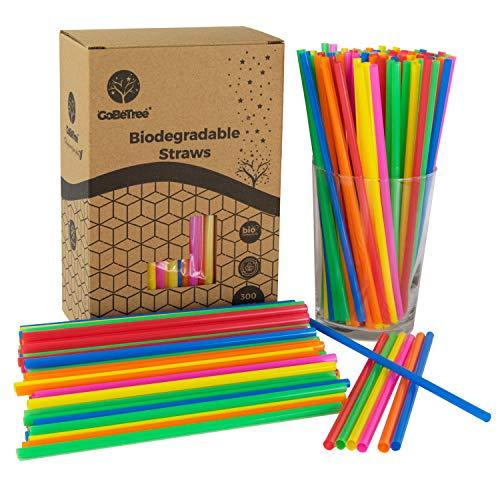 GoBeTree 300 pajitas de plástico pla Biodegradable de Colores Variados. Pajita Desechables ecológicas compostables. Cañitas para Fiestas y cumpleaños. Bebidas frías.