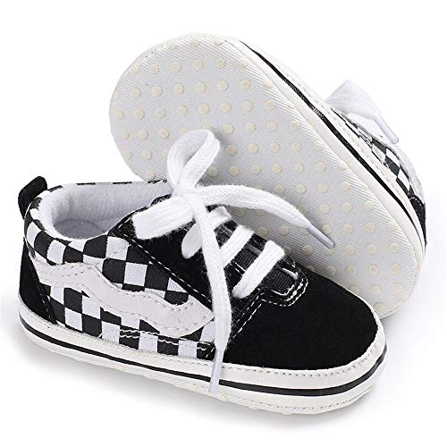 Baby Girls Boys Canvas Sneakers Soft Sole High-Top Ankle Infant First Walkers Crib Shoes (0-6 Months Infant, F/Black)