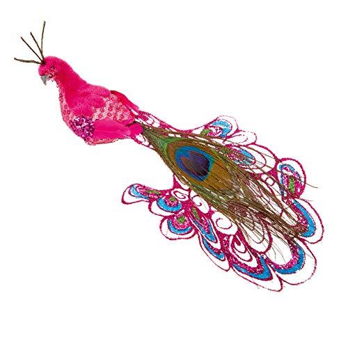 PREMIER 21cm lange staart pauw vogel op clip kerstboom decoratie - roze