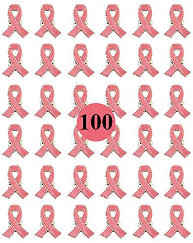Paquete de 100 broches de solapa para concienciación sobre el cáncer de mama, color rosa esperanza para mujeres niñas, evento público y social