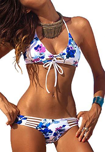 Sakura Wear, Amber Tank T Strap Bikini, XS, Weiss blau floral, Blumen, zum Binden, Knot, Schnürung, Outcut,NEU