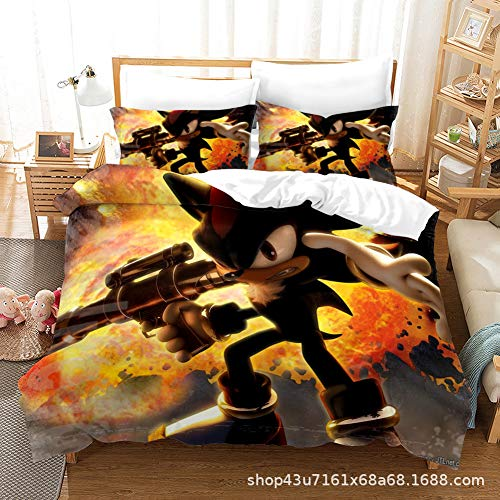 SK-LBB 3D Cartoon Printing Sonic Duvet Cover Kit with Invisible Zipper, Microfiber Silky and Comfortable Three-piece Suit, Suitable for Kids/boys/teens Bedroom Decoration (03,Super King 220X260CM)