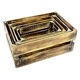 Divero 4er Set Vintage Holzkisten geflammt Braun Staubox Weinkiste Obstkiste Aufbewahrungsbox 4 Größen Stapelbox Spielzeugkiste Regal-Box - 4