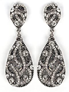 Antique Silvertone with Clear Iced Out Vine Twist Teardrop Shaped 3.25 Inch Dangle Clip on Earrings (R-3776)