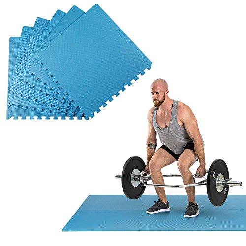 Klarfit Puzzta - Bodenmatten Set, Bodenschutzmatten, Unterlegmatten, 6 Stück, Eva-Schaum, 12 Randstücke, rutsch- und Abriebfest, MemorySafe, geruchsneutral, hautverträglich, blau