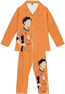 Pajama Set Teenagers Haikyuu Anime Loungewear Unisex Soft 2 Piece Set Pjs Nightwear Long Sleeve Trousers Sleepwear